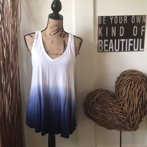 Merona ombré white and blue tunic